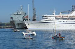 View of a cruise ship and a Royal Navy ship in the docks at Falmouth, Cornwall. Link to Boats & Ships Gallery