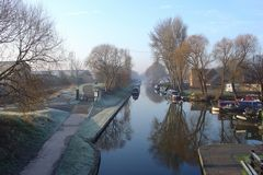 A wintry scene of the Trent and Mersey Canal at Horninglow Basin in Burton on Trent. Link to Waterways Gallery.