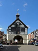 A view of the ancient Bridgnorth Town Hall at Bridgnorth in Shropshire. Link to Buildings Gallery.