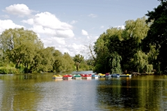 A view of boats moored on the lake at Markeaton Park in Derby, Derbyshire, England. This is just one of the many features of Derby's largest park. Link to Derbyshire Gallery.