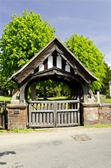 Church scene of the Lychgate of All Saints Church, Alrewas. Link to Lychgates Gallery.